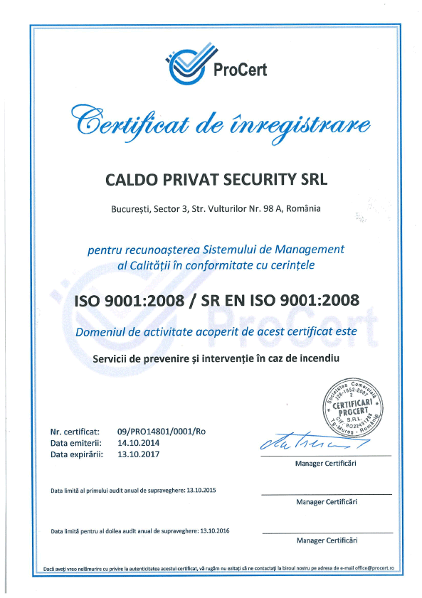 Caldo Privat Security Certificat de Inregistrare