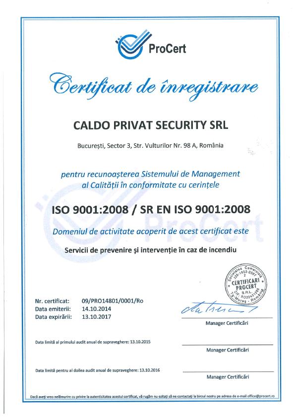 Caldo Privat Security Certificat de Inregistrare